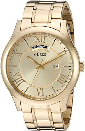 GUESS Men's U0791G2 Dressy Gold-Tone Stainless Steel Watch with Day & Date Dial and Pilot Buckle