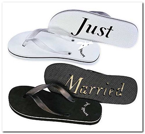 (Just Married Flip Flops Black White 8 Woman's and 11 Men's Black)
