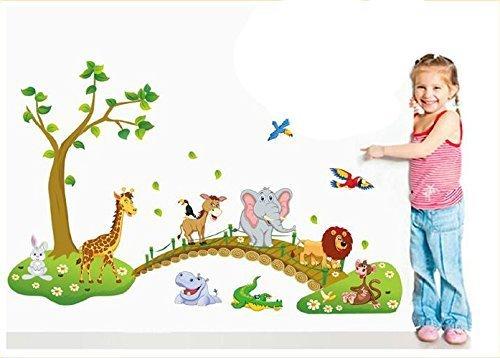 Lovely Jungle Zoo Animal Wall Sticker Monkey,rabbit,lion,hippo,giraffe,crocodile & Donkey Walking on Bridge Nursery Wall Decal for Baby