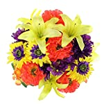 Admired-By-Nature-GPB7357-YWORPUR-Faux-Ranunculus-Lily-Hydrangea-Mixed-Flower-Bush