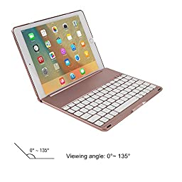 iPad Pro 9.7 Keyboard Cover, KVAGO Stylish 7 Colors Back light Keyboard Wireless Bluetooth Keypad and Hard Shell Protective Case Combo for Apple iPad Pro 9.7 inch (Rose Gold)