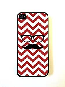 Hipster Mustache Red Chevron Black iphone 4 Cover Iphone 4s Case - For iphone...