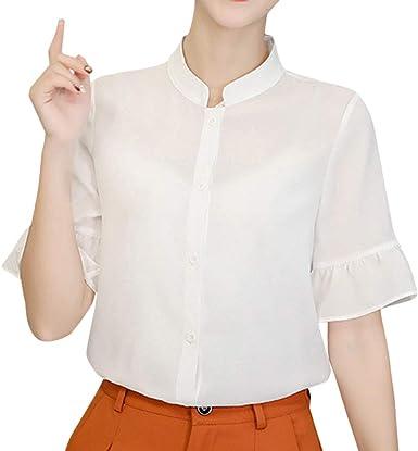 Camisa Coreana De Verano para Mujer Manga Corta Casual Talla Grande Color Sólido Camisa Manga Corta Delgado Blusa con Gasa para Oficina De Trabajo Wyxhkj: Amazon.es: Ropa y accesorios