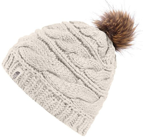 The North Face Triple Cable Fur Pom Beanie - Vintage White (North Face Lightweight The Beanie)