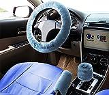 (US) Zento Deals Non-slip Car Steering Wheel Handbrake Gear Shift Plush Cover - Blue