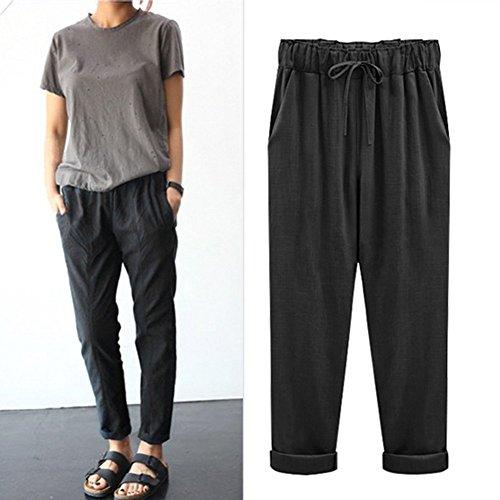 outlet Pantalones Capri de lino 3 4 para mujer grandes con bolsillos ... febb734072e3