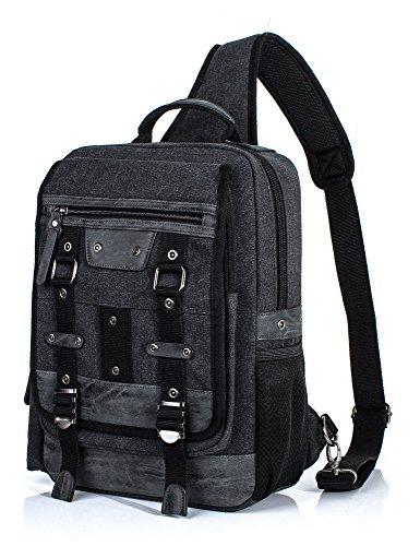 H Hikker-Link Mens Canvas Messenger Bag Laptop Sling Backpack Rucksack Black