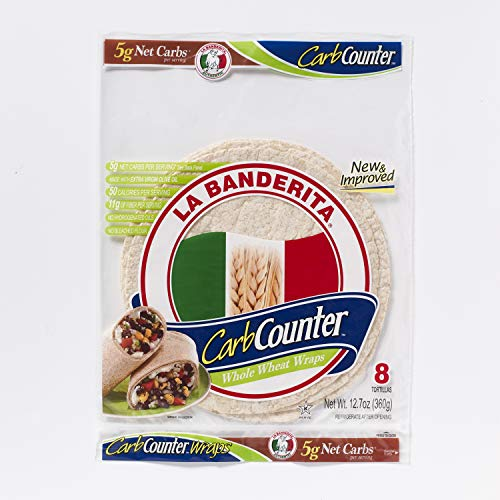 "La Banderita Carb Counter 8"" Whole Wheat Wraps, 8ct Each Pack - 12 Pack Case"