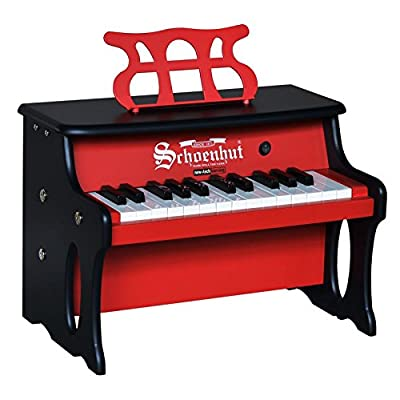 Schoenhut 25 Key 2 Tone Table Top Piano, Red/Black: Toys & Games
