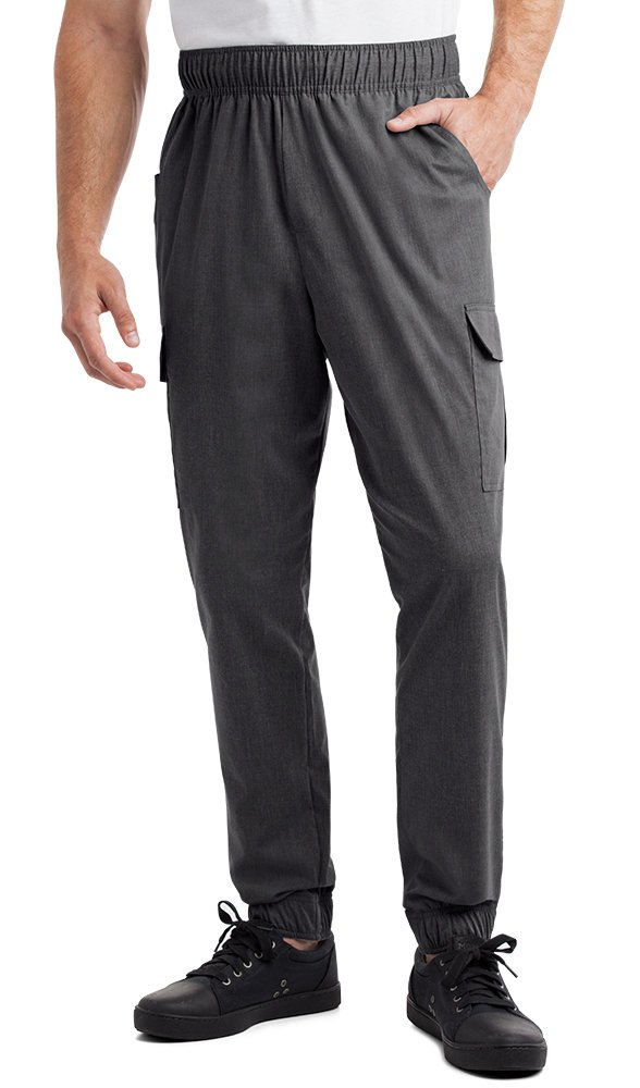 Men's Stretch Jogger Chef Pants (XS-3X, 2 Colors) (Large, Heather Charcoal) by ChefUniforms.com