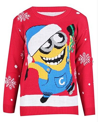 Ugly Christmas Sweater Women's Red Minion Jumper (M/L) | Apparel ...
