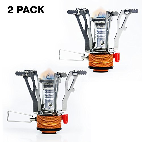 Price comparison product image PARTYSAVING [2-Pack] Pocket Size Camping Burner Collapsible Stove with Piezo Ignition System, APL1443