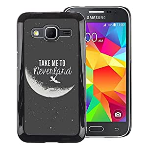 A-type Arte & diseño plástico duro Fundas Cover Cubre Hard Case Cover para Samsung Galaxy Core Prime (Take Me To Neverland Moon Black White)
