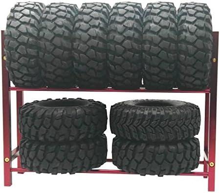 LAFEINAメタルのシェルフタイヤラックタイヤ1/ 10タイヤホイールリムRC Rockクローラ車、ドリフト車(レッド)