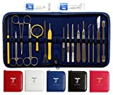 Esther Med: 33 Pcs Premium Quality Dissection Kit – Tools Used by Med. Students in Anatomy, Biology, Veterinary | Non Rusting Laboratory Surgical instruments: Sharp Scalper, Tweezers, Forceps (Red)