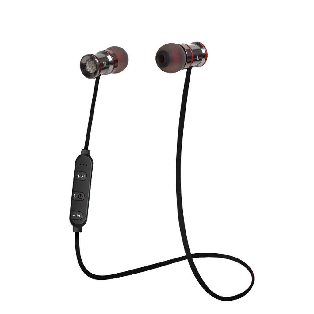 ALIZ Bluetoothヘッドセットネックマウントスポーツ、メタルワイヤレスインイヤーイヤホンステレオミュージックヘッドフォン、IPX4防水および防汗、セキュアフィット (色 : 赤) B07Q3HV9KB 赤