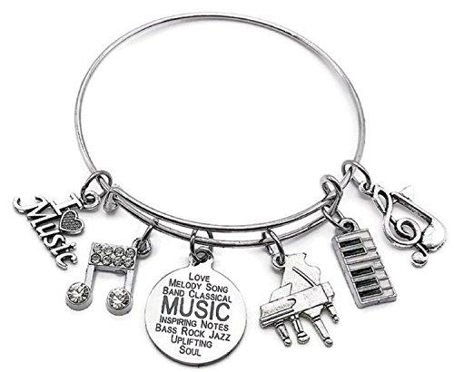 (Kit's Kiss Piano Bracelet, Piano Jewelry, Music Bracelet, Musical Note Bracelet, Music Jewelry, Music Charm, Piano Charm, Piano Keyboard Charm, Music Lover Gift, Music Gift, Piano Bangle Bracelet)