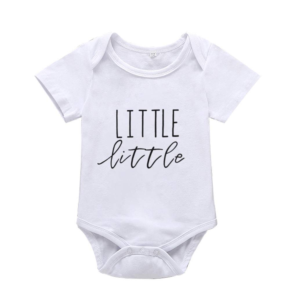 Baby Girl Boy Bodysuit, Casual Crewneck Short Sleeve Little Little Letter Cute Romper Sibling Set (White, Recommended Age:0-6 Months)