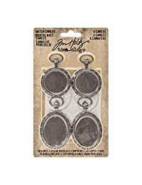 Tim Holtz Idea-ology Watch Cameos 4/Pack of Embellishments, 2 Inch and 2.5 Inch Tall Designs, Antique Nickel Finish (TH93264)