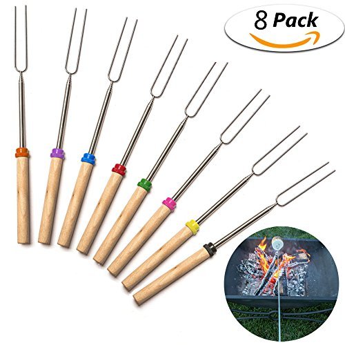 Fireside Girls Costume (YOXI Marshmallow Roasting Sticks with Wooden Handle Telescoping Extendable Rotating Hot Dog Fork,Great for Outdoor Barbecue Grill and Campfire Pit,32 inch long)