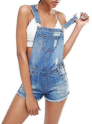 (CNJFJ Womens Classic Blue Bib Short Overalls Plus Size Destroyed Ripped Denim Jean Shortalls)