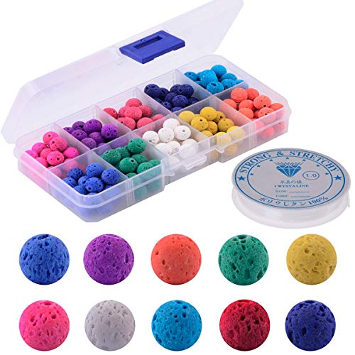 Color Lava Stone Beads Box Kit 200pcs 8mm Round Loose Chakra Rock Beads with Elastic Crystal String for Essential Oil Yoga Diffuser Bracelet Necklace Jewelry Making (Color Lava Stone Beads Kit) ()