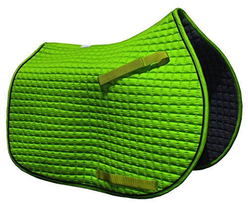 PRI Pacific Rim International Colorful Selection, All-Purpose English Saddle Pads for Horses | Over 70 Colors to Choose from (Lime Apple Green with Black ()