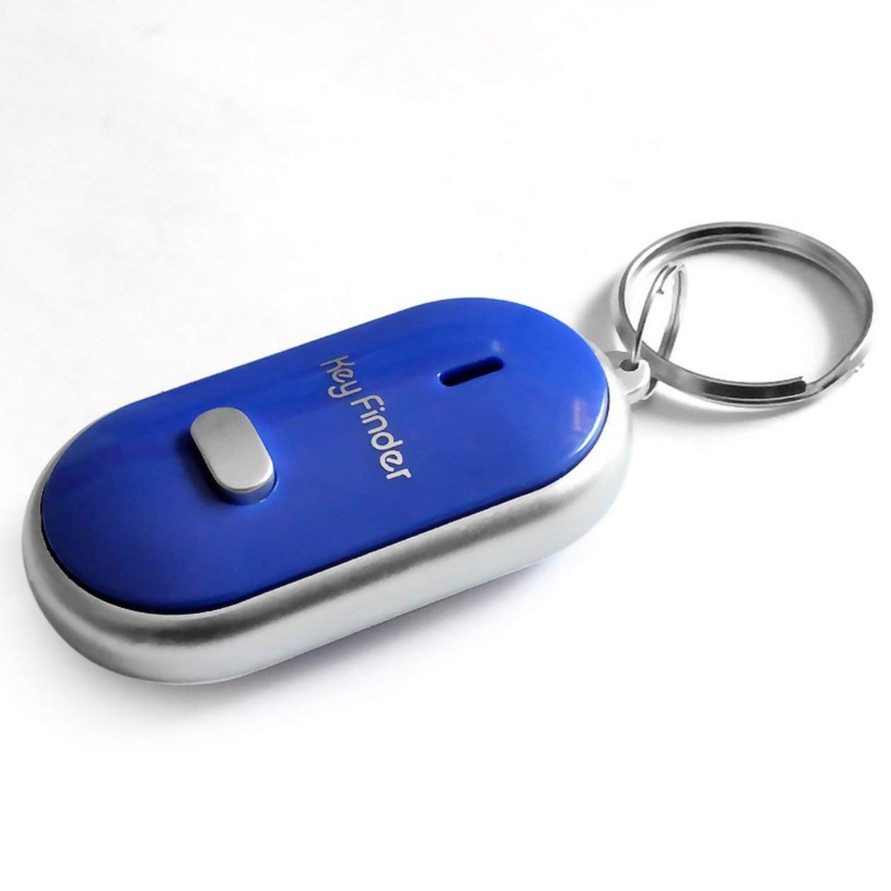 LED Whistle Key Finder Intermitente Sonido Pitido Control de Alarma Alarma Localizador de Keyfinder Anti-Perdido Rastreador con Llavero Color: Blanco