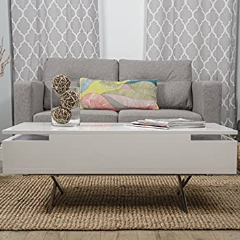 MIX High Gloss Lacquer Wood Stainless Steel Legs White Lift-Top Rectangular Coffee Table with Hidden Storage