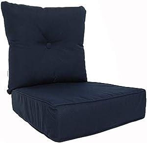 RULU 02180 Patio Cushion Outdoor/Indoor Sunbrella, Seat 22x22x6 inch + Back 23x23x7 inch, Canvas Navy
