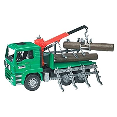 Bruder 02769 MAN Timber Truck with Loading Crane and 3 Trunks: Toys & Games