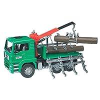 Camión de madera Bruder Toys Man con grúa de carga y 3 troncos