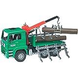 Bruder - 2769 - Camion MAN porte troncs Vert avec grue et 3 troncs