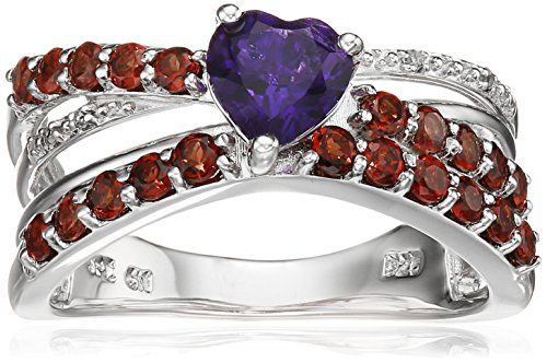 Sterling Silver Amethyst Garnet and Diamond Accent Criss-Cross Ring, Size 8 - Diamond Accent Criss Cross Ring