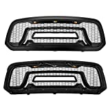 For Dodge Ram 1500 Grille 2013-2018 Black Honeycomb Bumper Grill Mesh Rebel Style with 3 LED Lights