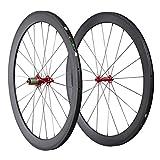 IMUST Lightweight 700C Carbon Fiber T700 Aero Road Bike Clincher 50mm Wheelset Red Hubs only 1430g