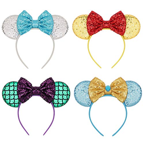 Mickey Mouse Ears Bow Headbands Glitter Princess Party