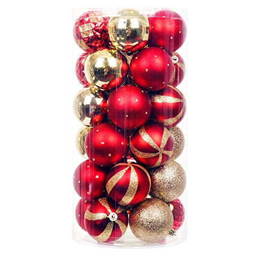 (iPEGTOP Delicate Painting & Glittering Shatterproof Christmas Ball Ornaments - 30ct 60mm/2.4