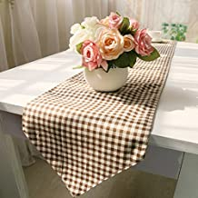 Ikeelife Contemporary Cotton Linen Table Runner without Tassel Checkered 1Pcs 30*200cm