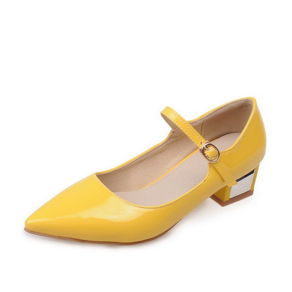 WeiPoot Women's Buckle PU Pointed Closed Toe Low-Heels Solid Pumps-Shoes, Yellow, 35