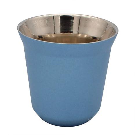 Dianoo Taza De Café Tazas De Espresso De Acero Inoxidable pared Doble Con Aislamiento Térmico Cápsula Azul