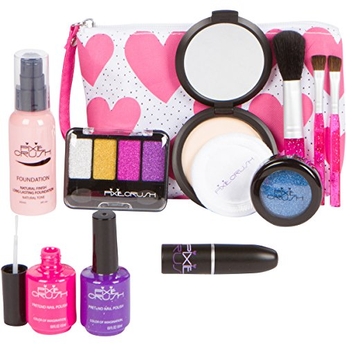 PixieCrush Pretend Play Makeup Kit. Designer Girls Hearts Bag Beauty Basics - And Designer Heart Eyes With