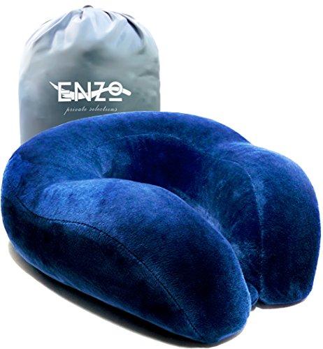 Travel Neck Pillow - Luxury Premium Memory Foam with Cooling Gel Travels with Enzo Comfort Nek Pilow (Blue) (A/c Foam)