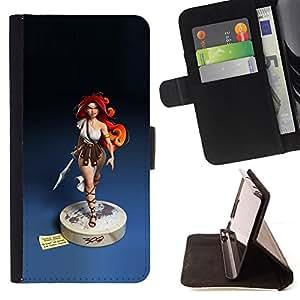 BullDog Case - FOR/Samsung Galaxy S3 III I9300 / - / redhead girl blue statue woman warrior /- Monedero de cuero de la PU Llevar cubierta de la caja con el ID Credit Card Slots Flip funda de cuer