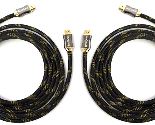 Price comparison product image QualGear 6 Feet - 2 Pack HDMI Premium Certified 2.0 cable with 24K Gold Plated Contacts, Supports 4K Ultra HD, 3D, 18Gbps, Audio Return Channel, Ethernet (QG-PCBL-HD20-6FT-2PK)