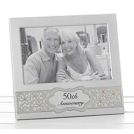 Golden 50th Wedding Anniversary Photo Frame Satin Silver With Gold