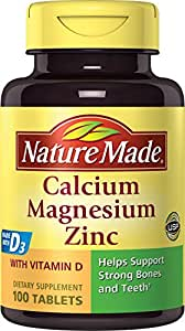 Nature Made Calcium, Magnesium & Zinc w. Vitamin D Tablets (Pack of 3)