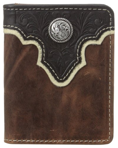 Ariat Men's Top Concho Overlay Bifold, Black/Brown, One Size