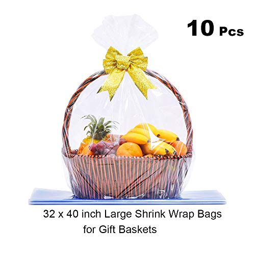(LazyMe Clear Basket Bags Large Cellophane Shrink Wrap Bags for Baskets and Gifts, 32 x 40 inch,Thick 2.5mil (10 Pieces))