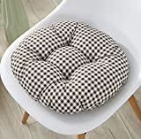 Fandim Fly 13'' Round Barstool Cushion with Adjustable Drawstring Yoke - Checkers Brown 1/4'' Check Plaid - Latex Foam Fill Bar Stool Pad